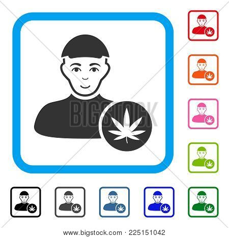 Glad Cannabis Dealer vector icon. Human face has joy sentiment. Black, gray, green, blue, red, pink color variants of cannabis dealer symbol inside a rounded rectangular frame. A dude in a cap.