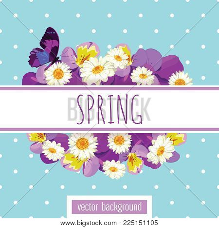 Floral card template with sample text on the white ribbon. Butterflies, pansies and camomiles on light green blue polka dot background for your design. Vector illustration.