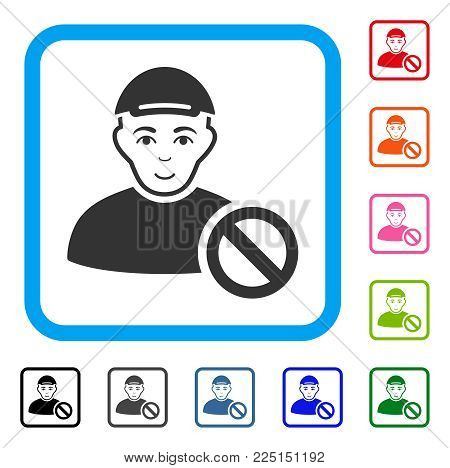 Positive Forbidden Man vector pictogram. Person face has joyful expression. Black, grey, green, blue, red, orange color versions of forbidden man symbol inside a rounded rectangle.
