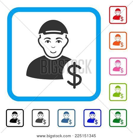 Smiling Loan User vector pictogram. Human face has joy mood. Black, grey, green, blue, red, orange color versions of loan user symbol inside a rounded squared frame. A boy with a cap.