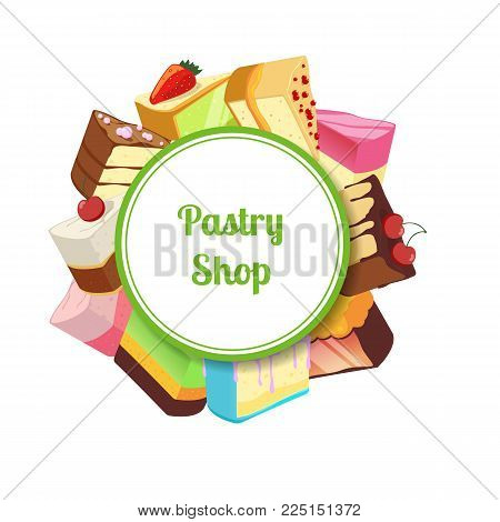 Vector illustration for pastry shop or confectionary with cartoon tasty cake. Pastry cake food dessert, chocolate cupcake with cream