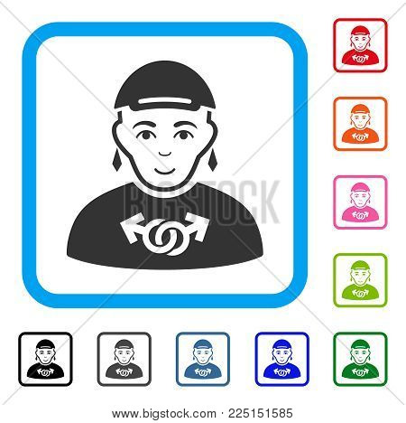 Positive Pride Gay vector icon. Person face has cheerful feeling. Black, grey, green, blue, red, orange color versions of pride gay symbol inside a rounded rectangular frame.