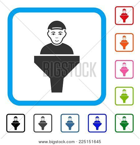 Cheerful Client Sales Filter vector icon. Human face has glad mood. Black, gray, green, blue, red, orange color variants of client sales filter symbol inside a rounded squared frame.