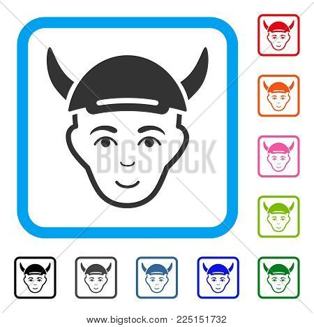 Happy Horned Boy Head vector pictogram. Person face has joyful expression. Black, grey, green, blue, red, pink color variants of horned boy head symbol inside a rounded frame.
