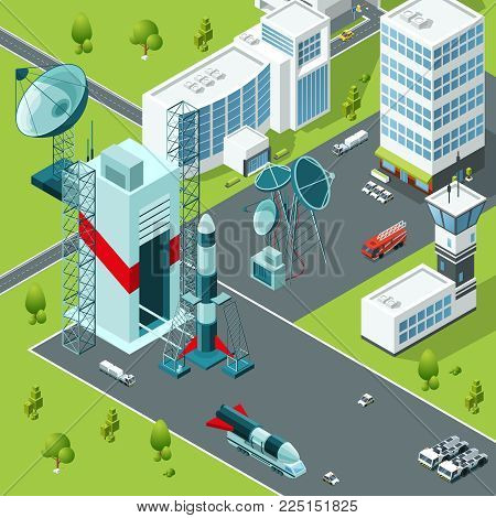 Launch pad of the spaceport. Isometric buildings and rocket launch, spaceship and shuttle. Vector illustration