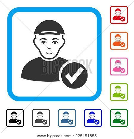 Joy Apply User vector pictograph. Person face has cheerful expression. Black, gray, green, blue, red, pink color additional versions of apply user symbol inside a rounded frame. A guy wearing a cap.