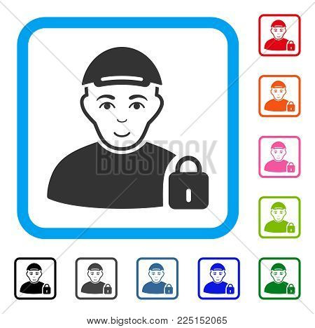 Enjoy Locked User vector pictogram. Human face has glad expression. Black, gray, green, blue, red, orange color variants of locked user symbol inside a rounded rectangular frame. A guy wearing a cap.