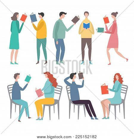 Funny characters male and female standing and reading books. Stylized vector illustrations in flat style. People reading male and female, character cartoon education and study