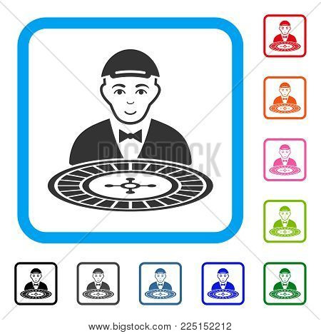 Cheerful Roulette Croupier vector pictograph. Human face has gladness mood. Black, grey, green, blue, red, pink color additional versions of roulette croupier symbol inside a rounded squared frame.