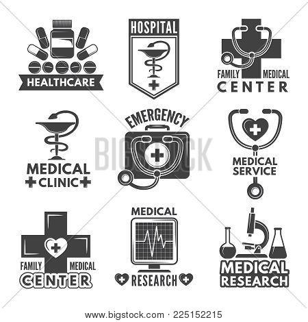 Pharmacy Chemistry Or Medicine Labels Set Vector Monochrome Logos Template Medical Emblem Hospital