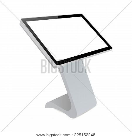 Digital informational kiosk. Interactive digital signage with blank screen. Mockup to showcasing info or advertising projects. Vector illustration poster
