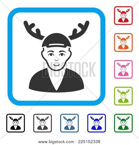 Positive Horned Boyfriend vector pictogram. Human face has enjoy sentiment. Black, grey, green, blue, red, pink color versions of horned boyfriend symbol in a rounded frame. A guy in a cap.