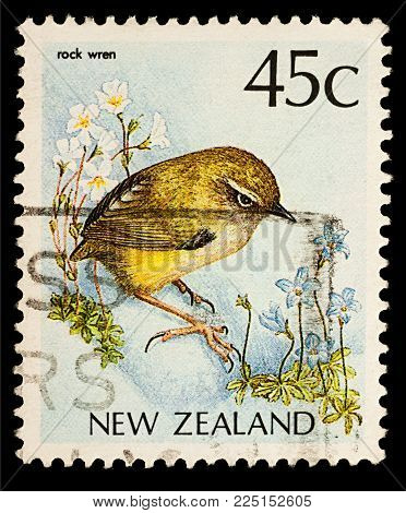 Moscow, Russia - February 04, 2018: A stamp printed in New Zealand, shows bird New Zealand Wren (Xenicus gilviventris), series