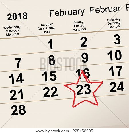 February 23 russian day of defender fatherland. Red star calendar reminder. Vector illustration
