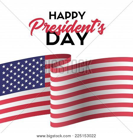Happy president's day. Vector greeting card with USA flag
