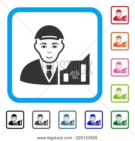 Positive Iota Trader vector pictogram. Human face has positive sentiment. Black, gray, green, blue, red, orange color versions of iota trader symbol inside a rounded rectangle.