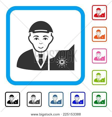 Joy Cardano Trader vector pictograph. Human face has joy sentiment. Black, gray, green, blue, red, pink color versions of cardano trader symbol inside a rounded squared frame.