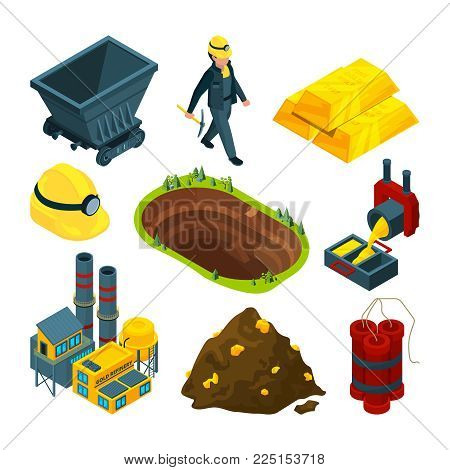 Isometric tools for mining industry. Mine industry coal and gold, equipment dynamite 3d isometric and trolley. Vector illustration