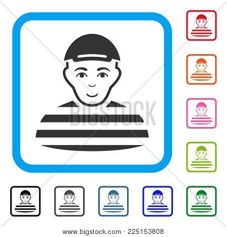 Joy Prisoner vector pictograph. Person face has happiness emotions. Black, grey, green, blue, red, orange color additional versions of prisoner symbol inside a rounded square. A dude in a cap.