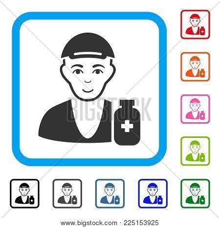 Joyful Drug Dealer vector icon. Human face has positive emotion. Black, gray, green, blue, red, orange color variants of drug dealer symbol inside a rounded squared frame. A dude dressed with a cap.