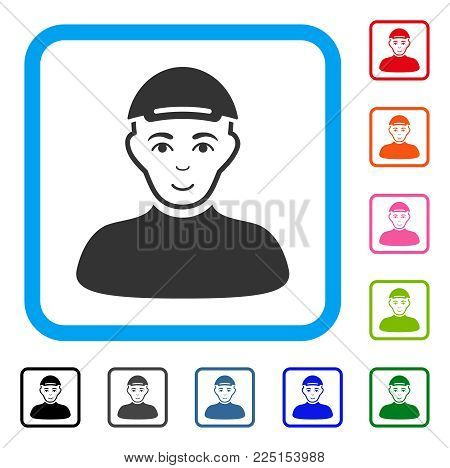 Joyful Boy vector icon. Person face has glad sentiment. Black, gray, green, blue, red, pink color variants of boy symbol in a rounded frame. A male person wearing a cap.