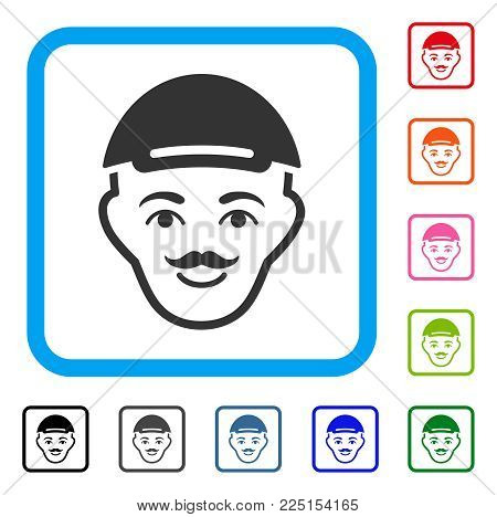 Enjoy Hipster Head vector icon. Human face has glad emotions. Black, gray, green, blue, red, pink color additional versions of hipster head symbol in a rounded square. A man dressed with a cap.