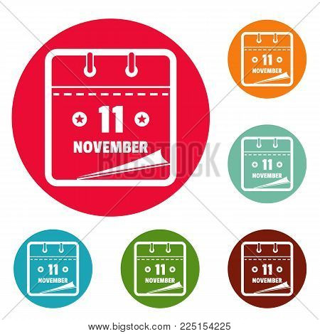 Calendar eleventh november icons circle set vector isolated on white background