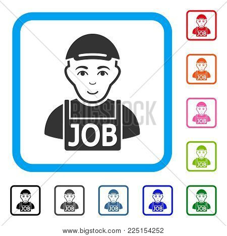 Joy Jobless vector icon. Person face has happy expression. Black, grey, green, blue, red, pink color additional versions of jobless symbol inside a rounded frame. A person with a cap.