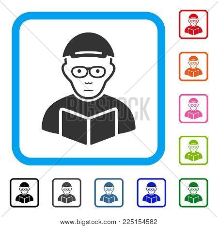 Enjoy Reading Student vector icon. Human face has joyful expression. Black, grey, green, blue, red, orange color additional versions of reading student symbol inside a rounded rectangle.