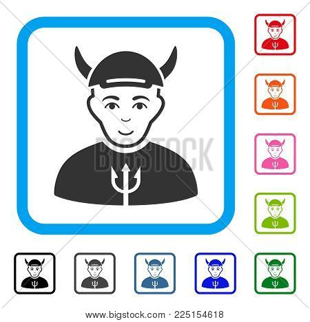 Positive Devil vector pictograph. Human face has enjoy emotions. Black, grey, green, blue, red, orange color variants of devil symbol inside a rounded frame. A dude wearing a cap.