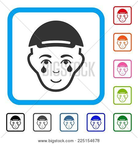 Glad Crying Man Face vector pictogram. Human face has enjoy expression. Black, gray, green, blue, red, orange color versions of crying man face symbol inside a rounded rectangular frame.