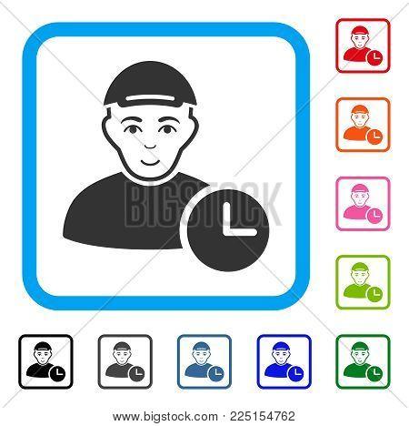 Joyful User Clock vector pictogram. Human face has smiling sentiment. Black, gray, green, blue, red, orange color additional versions of user clock symbol inside a rounded rectangular frame.