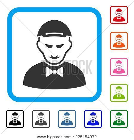 Gladness Vampire vector icon. Human face has cheerful sentiment. Black, grey, green, blue, red, orange color versions of vampire symbol inside a rounded frame. A boy wearing a cap.
