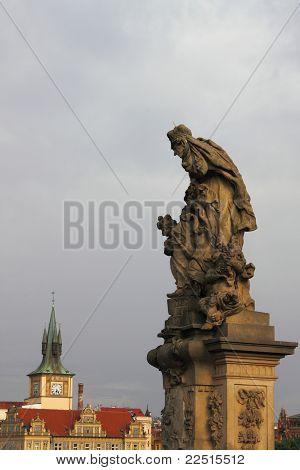 Saint Ludmila statue in Charles bridge Prague poster