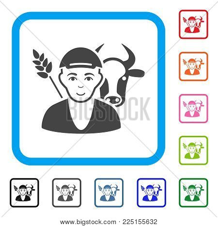 Happy Farmer vector icon. Person face has enjoy feeling. Black, grey, green, blue, red, orange color versions of farmer symbol in a rounded frame. A man dressed with a cap.