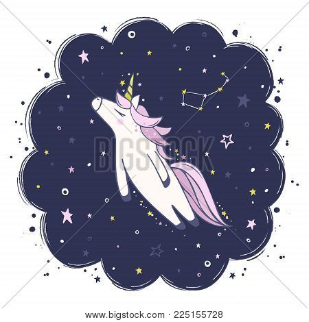 Cute vector unicorn in flight. Magic character with pink mane surrounded by star dust on the background of the night starry sky for sticker, patch badge, card, t-shirt and funny children's design.