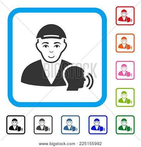 Joy Psychotherapist Talking vector icon. Human face has cheerful sentiment. Black, gray, green, blue, red, orange color versions of psychotherapist talking symbol in a rounded frame.