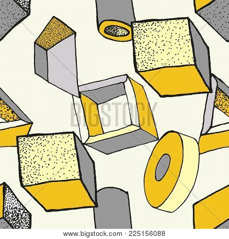 Seamless geometric pattern with 3d geometric objects. Abstract doodle background. Hand drawn primitives cube, torus, sphere, cone. Good for print, web, wrapping paper