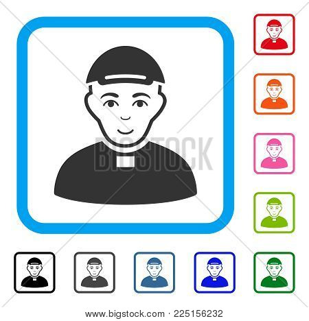 Gladness Catholic Priest vector icon. Person face has cheerful feeling. Black, grey, green, blue, red, pink color additional versions of catholic priest symbol in a rounded frame. A boy in a cap.
