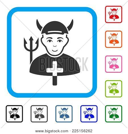 Smiling Satan Priest vector pictograph. Person face has joyful emotion. Black, grey, green, blue, red, pink color versions of satan priest symbol inside a rounded rectangular frame. A person in a cap.