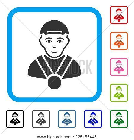 Cheerful Champion vector icon. Human face has cheerful emotion. Black, gray, green, blue, red, pink color variants of champion symbol inside a rounded frame. A guy dressed with a cap.