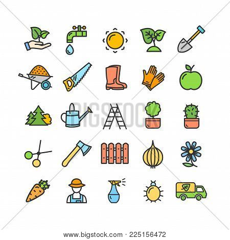 Gardening Signs Color Thin Line Icon Set Include of Wheelbarrow, Trowel, Secateurs, Leaf, Spade and Spray. Vector illustration