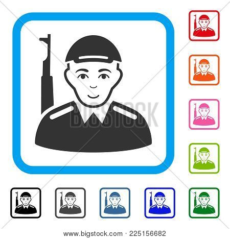 Positive Soldier vector pictograph. Person face has happy sentiment. Black, gray, green, blue, red, pink color variants of soldier symbol in a rounded square. A person wearing a cap.
