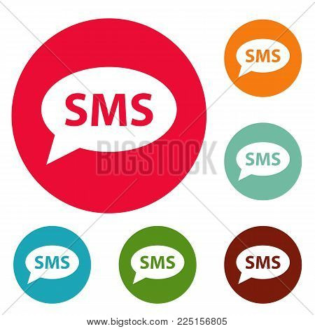 SMS icons circle set vector isolated on white background
