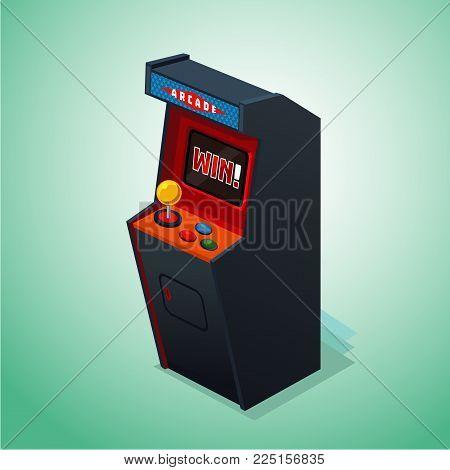 Retro arcade machine. Isolated on white arcade video console