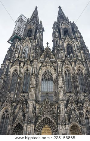 Cologne Cathedral (officially High Cathedral of Saint Peter) is a Roman Catholic cathedral in Cologne, Germany. It is Germany's most visited landmark and currently the tallest twin-spired church at 157 m (515 ft) tall