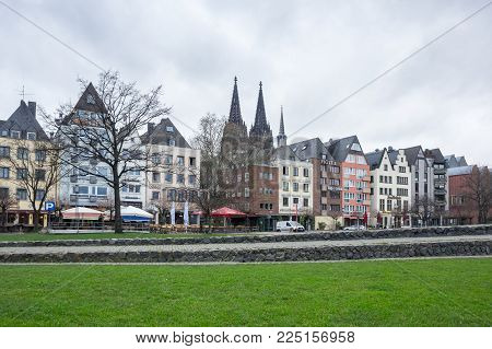 COLOGNE, GERMANY - FEBRUARY 22, 2016: View of embankment in Cologne, the largest city in the German federal State of North Rhine-Westphalia and the fourth-largest city in Germany