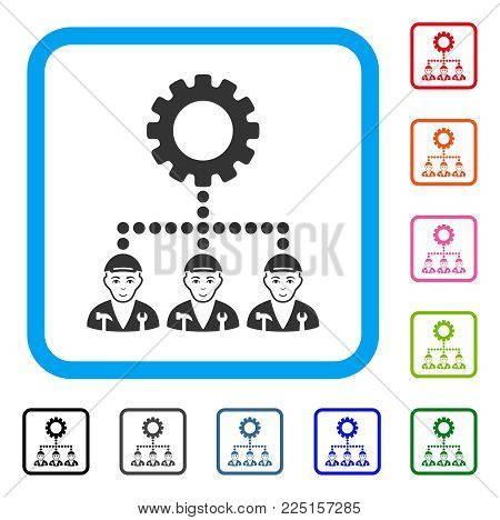 Gladness Gear Hierarchy Workers vector pictograph. Human face has enjoy feeling. Black, gray, green, blue, red, orange color versions of gear hierarchy workers symbol in a rounded frame.