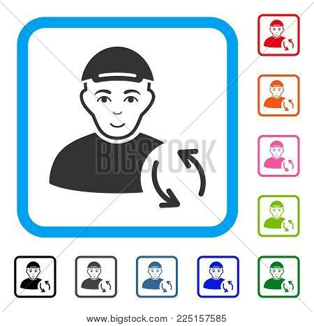 Enjoy Refresh User vector pictogram. Human face has joy sentiment. Black, grey, green, blue, red, pink color versions of refresh user symbol inside a rounded frame. A person wearing a cap.