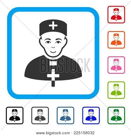 Happiness Monastic Doctor vector pictograph. Person face has joy sentiment. Black, gray, green, blue, red, orange color additional versions of monastic doctor symbol inside a rounded rectangle.